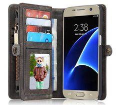 CaseMe Samsung Galaxy S7 Zipper Wallet Detachable 2 in 1 Folio Case Black