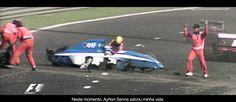 F1 GP Belgium 1992 Ayrton Senna saves Eric Comas during practise on friday.