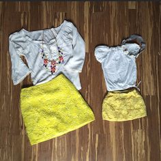 Mini + Me yellow lace crochet skirts
