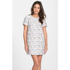 A rainbow of pastel stripes peeks through the clean white jacquard pattern of this boxy minidress. Brand: CeCe by Cynthia Steffe. Style Name: CeCe by Cynthia S…