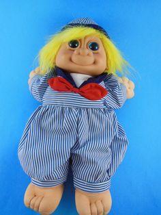 Russ Berrie TROLL KIDZ Plush Doll Sailor SKIPPY BLUE EYES Yelow hair #RussBerrie #Dolls