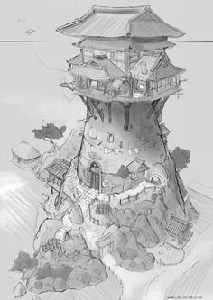 Art by Feng Zhu Design Concept Art. Environment Sketch, Environment Design, Fantasy Map, Fantasy World, Fantasy House, Dungeons And Dragons, Architecture Design Concept, 3d Drawings, 3d Models