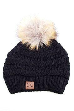 67a407e0ebc Black CC Beanie with Tan Fur PomPom Pom Pom Beanie Hat
