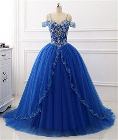 Prom Dresses Ball Gown, New Ball Gown Quinceanera Dresses Tulle Sweet Princess Dresses Sequins Beaded Sweep Train Prom Dress, from the ever-popular high-low prom dresses, to fun and flirty short prom dresses and elegant long prom gowns. Royal Blue Prom Dresses, Blue Evening Dresses, V Neck Prom Dresses, Quince Dresses, Beaded Prom Dress, Long Prom Gowns, Ball Gowns Prom, Princess Dresses, Dress Long