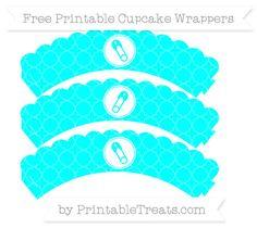 Free Aqua Blue Quatrefoil Pattern Diaper Pin Scalloped Cupcake Wrappers
