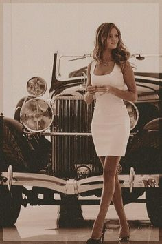perfect white dress (I want senior pictures in front of a vintage car!!!!)