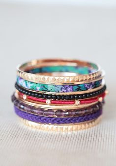 Western Jewel Bangle Set | Modern Vintage Jewelry