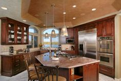 com - Transitional Kitchen Photos - Remodeled Kitchen with Coffered Ceiling Kitchen Layout Plans, Transitional Kitchen, Cherry Cabinets Kitchen, Kitchen Remodel, Large Kitchen, Interior Design Kitchen, Kitchen, Home Kitchens, Kitchen Layout