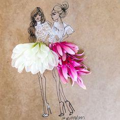 Mixed media fashion illustrator collaborating with luxury brands and selling fine art prints. Vincent Bal, Fashion Design Sketches, Gerbera, Floral Fashion, Art Journal Inspiration, Art Plastique, Dahlia, Creative Art, Flower Art