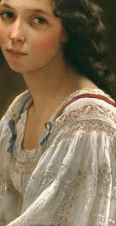 Unbelieveable that this lace detail is hand painted.  Portrait de Jeune Fille (Détail) Emile Munier 1840/1895