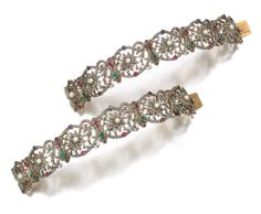 Pair of gem set and diamond bracelets, Late 19th Century - Sotheby's