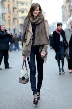 neutral layers + color-blocked satchel