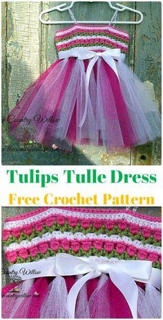 Crochet Tulips Tulle Dress Free Pattern Instructions-Crochet Tutu Dress Free Patterns