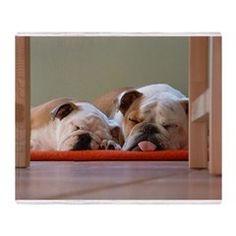 2 sleeping bulldogs Throw Blanket