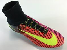 SR4U Black/Neon Yellow Premium Soccer Laces on Nike Mercurial Superfly 5