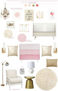 pink gold girl nursery #cadenlane