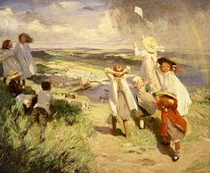 Flying a Kite ~ Dame Laura KnightFlying a Kite, Dame Laura Knight 1910 Oil on canvas, 150 x 180 cm Iziko South African National Gallery, Cape Town © Reproduced with the permission of the Estate of Dame Laura Knight DBE RA 2012 All Rights Reserved. English Artists, French Artists, British Artists, Puzzle Of The Day, Kite Flying, Oil On Canvas, Knight, Illustration Art, Illustrations