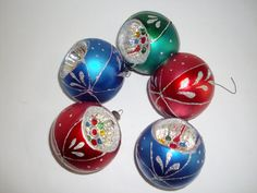 Vintage Christmas Ornaments Set of 5 Mercury Glass by NanNasThings, $20.00