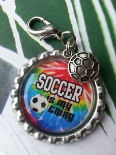 Soccer is my thing Bottle Cap Keychain OR Zippupull by tracikennedy on Etsy, $6.00