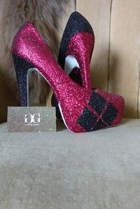 Custom made sizes 5.5-11 comic book Harley quinn heels.  red Harley quinn. burgundy Harley quinn.  short heels. Tall heels