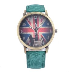 $6.50 (Buy here: http://appdeal.ru/8g7q ) New Fashion Casual British Flag Vintage Geneva Lovers'  Watches Luxury Denim Canvas Strap along Quartz Watch  Colorful 5003 for just $6.50