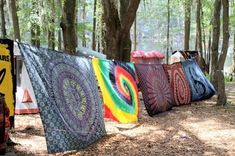 Tie dye tapestries... One way to decorate your camp site :)