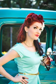 She is just perfect! Love her Rockabilly hair and Pin Up inspired makeup:: Such a pretty and sweet vintage look! :: Pin Up Girl:: Rockabilly Girl:: Vintage Hair and Makeup:: Retro Style
