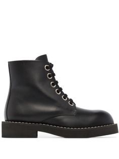 Black leather lace-up ankle boots from MARNI featuring round toe, flat leather sole, front lace-up fastening and ankle-length. Black Leather Boots, Leather And Lace, Marni Shoes, Lace Up Ankle Boots, Designer Boots, Comfy Shoes, Luxury Shoes, Combat Boots, Front Lace