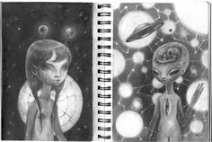 Mooni-Human Hybrid & ST4RCH1LD in a Constellation Womb  6 x 9 inch graphite drawings