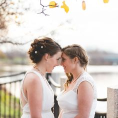 Two brides wedding day photo idea - two brides sharing a sweet moment {Jay Zhang Photography}