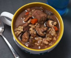 Mushroom Barley & Beef Soup from Coconut and Lime