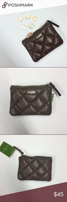 "Kate Spade Frenchgrey Coin Purse Beautiful brown quilted coin purse from Kate Spade. Dimensions: 5.5""W x 3.75""H. Gold hardware, adorable interior with attached keyring (pictured). NWT. kate spade Bags Wallets"