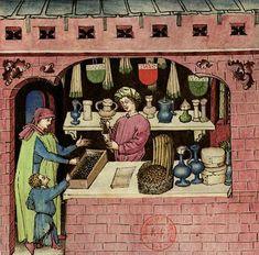 Medieval Market, Medieval Life, Medieval Manuscript, Illuminated Manuscript, Renaissance, Medieval Costume, Book Of Hours, Bnf, Printed Linen