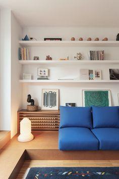 A Attic Apartment in Barcelona with Built-In Furniture - Design Milk Built In Furniture, Furniture Design, Built In Sofa, Interior Architecture, Interior And Exterior, Modern Interior, Barcelona Apartment, Attic Apartment, Apartment Therapy