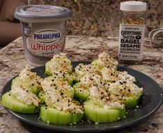 cucumber, cream cheese, TJ everything but the bagel seasoning. Make vegan keto using kite Hill cream cheese Low Carb Recipes, Diet Recipes, Healthy Recipes, Recipies, Protein Shake Recipes, Cheap Recipes, Cooker Recipes, Seafood Recipes, Yummy Recipes