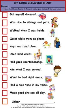 At Home Behavior Chart Kids  Reward Charts For Good Behavior