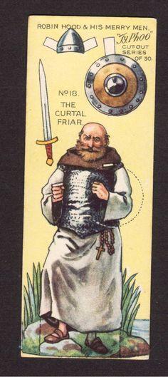 Robin Hood Scarce 1928 Typhoo Tea Paper Doll Card 18 The Curtal Friar | eBay