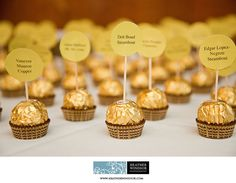 Ferraro Rocher place markers, I would have to use assorted truffles for those that dont like nuts