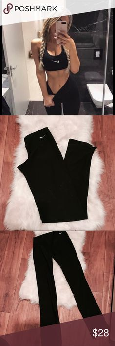 ✔️ Nike Spandex yoga pants - high waisted ✔️ Nike Black athletic spandex yoga pants  - Black with white Nike swoosh on hip,,mLogo on front - Size Xsmall - stretchy spandex material  - athletic pants - strait leg, boot cut, tight hugged fit  -full length, great condition - NWOT - perfect new condition Nike Pants Leggings