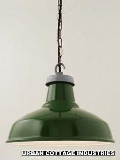 GREEN ENAMEL   vintage industrial light shade   LARGE