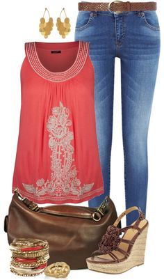 love the wedge sandals and accessories!  I do love the color and style of the top not the embroidery so much