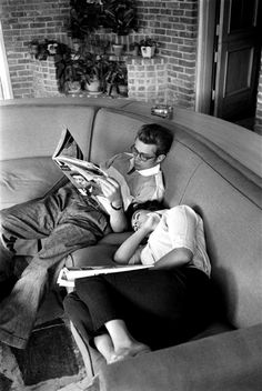 "James Dean and Elizabeth Taylor during a break from filming ""Giant"""