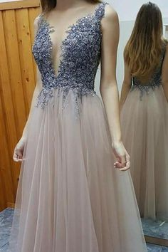 Prom Dress,Sexy Stylish A-line Prom Dress - Deep V-neck Floor-Length Beading Backless ,Evening Dress, Formal Dress, Sexy Gril Dress, Floor-Length Prom Dresses, Evening Dresses, Custom Dress