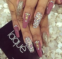 Pink and crystal coffin nails