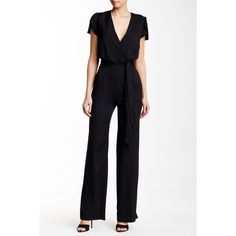 Diane von Furstenberg Kacey Jumpsuit ($210) ❤ liked on Polyvore featuring jumpsuits, black, short sleeve jumpsuit, black short sleeve jumpsuit, jump suit, diane von furstenberg jumpsuit and short jumpsuits