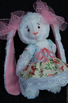 Купить Зайка тедди Анабель - белый, розовый, зайка, тедди, ручная авторская работа