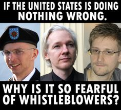 If the United State is doing nothing wrong.   Why is it so fearful of Whistleblowers?