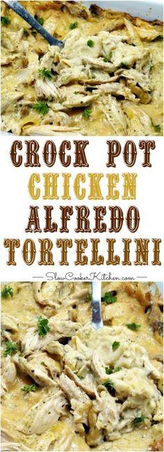 5-Ingredient Crock Pot Chicken Alfredo Tortellini! Super easy and deliciously tasty too! https://www.slowcookerkitchen.com/crock-pot-chicken-alfredo-tortellini/