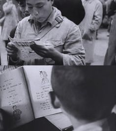 """Behold! In one segment, which is probably intended to communicate """"democratization through reading,"""" one boy is shown looking at some kind of flier, then another a boy is shown looking at some kind of booklet teaching English phrases. The Gordon W. Prange Collection: saving hidden history, Japan 1945-1949 (2008). Gordon W. Prange Collection, University of Maryland Libraries."""