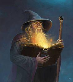 m Wizard Robes Hat Staff Magic Book Gandalf By Adam Brown Gandalf, Legolas, Fantasy Kunst, Fantasy Art, Mago Tattoo, Magia Elemental, Fantasy Wizard, Dnd Wizard, Book Wizard